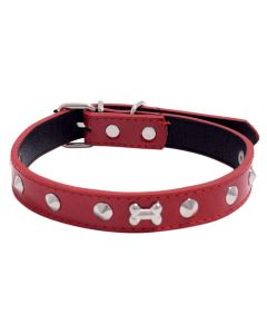 Petsworld High Quality Adjustable Dog Collar 0.7 Inch with Metal Spike Studs (Red)