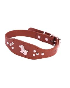 Petsworld Imported High Quality Adjustable Dog Collar 0.7 Inch with Metal Studs (Brown)