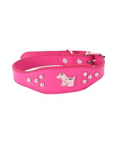 Petsworld Imported High Quality Adjustable Dog Collar 0.7 Inch with Metal Studs (Pink)