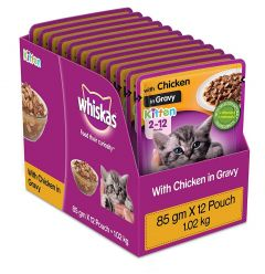 Whiskas Kitten Wet Cat Food Chicken in Gravy 85 gm X 12 Pcs