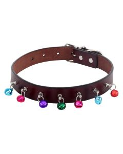 Petsworld Imported High Quality Adjustable Dog Collar 0.9 Inch with Bell Brown
