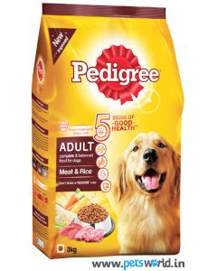 Pedigree Meat and Rice Adult Dog Food 3 Kg