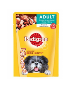 Pedigree Adult Chicken & Liver Chunks flavour in Gravy 80 gms