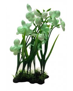 Aquatic Plant Long Stems & White Flower For Aquarium Decoration