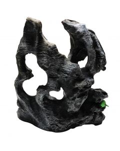 Aquatic Black Stone Sculpture For Aquarium Decoration