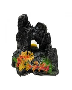 Aquatic Black Sculpture Bubble Releasing Stone For Aquarium Decoration