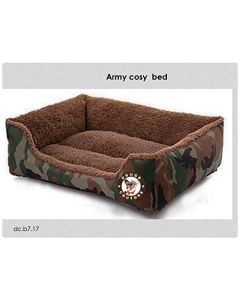 Petsworld Cozy Winter Soft Rectangular Army Bed for Dogs Medium