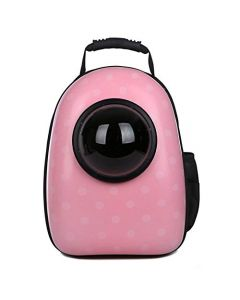 Petsworld Astronaut Pet Cat Dog Puppy Carrier Travel Bag Space Capsule Backpack Breathable (Spotted Pink)
