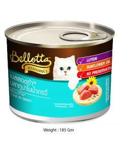 Bellotta Gatto Tuna Chunk Mixed Tuna Flake in Gravy (Lutien Added) Canned Cat Food 185 gm