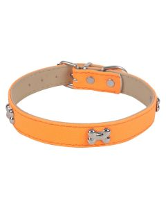 Petsworld Adjustable Dog Collar with Bone Shape Metal Stud- 2 cm Orange