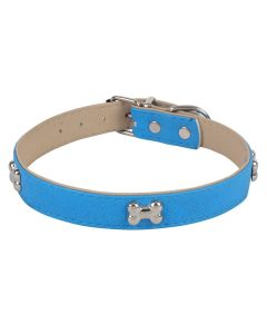 Petsworld Adjustable Dog Collar with Bone Shape Metal Stud- 2 cm Blue