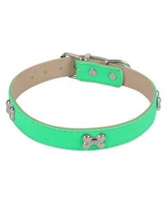 Petsworld Adjustable Dog Collar with Bone Shape Metal Stud- 2 cm Green