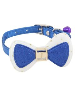 Petsworld High Quality Designer Adjustable Bow Design Collar for Puppy/Cat - Blue