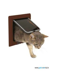 Trixie 4 Way Cat Flap Brown - LxB : 20.5x20.5 cm ( 8.2x8.2 inch)