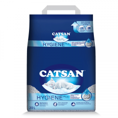 CATSAN Hygiene Plus Triple Odor Control 100% Natural Cat Litter, 20 L