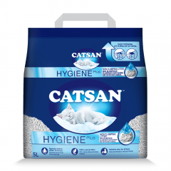 CATSAN Hygiene Plus Triple Odor Control 100% Natural Cat Litter, 5 L