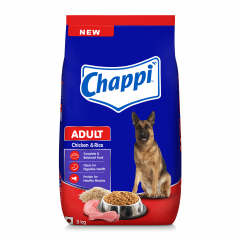 Chappi Adult Dry Dog Food, Chicken & Rice, 3kg