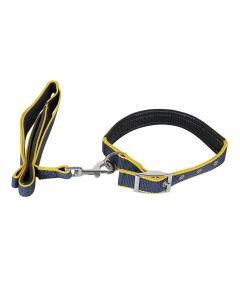 Petsworld Color Combo Leash and Collar Set with Extra Neck Padded for Dog Yellow Blue