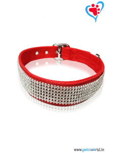 Petsworld Crystal Dog Collar And Leash Small (Red)