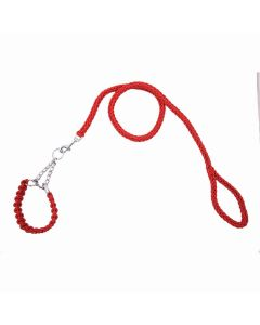 Petsworld Cord Nylon Dog Leash for Dogs with Extra Strong Brass Snap Hook Red Medium