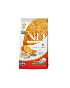 Farmina N&D Low Grain Codfish & Orange Medium Breed Adult Dog Food 2.5 Kg