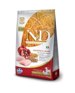 Farmina N&D Low Grain Chicken & Pomegranate Light Adult, Mini & Medium Dog Food 12 Kg