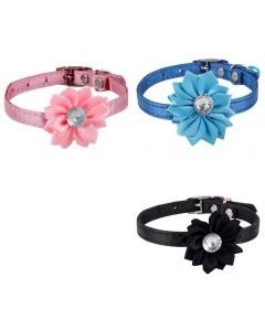 Petsworld High Quality Combo of 3 Designer Adjustable Flower Collar for Puppy/Cat