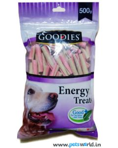 Goodies Dog Treats  Single Twisted Stick 2 Colors Strawberry And Milk 500 gms