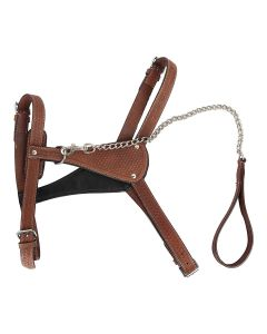 Petsworld Handmade Leather Dog Harness with Chain Leash Brown Extra Large