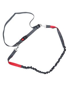 Petsworld Hands Free Leash Dual Handle Running Leash 130 cm Red Grey