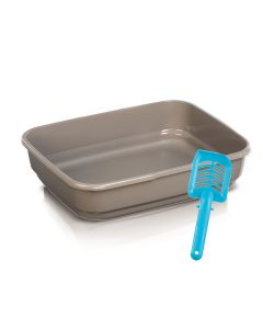 Imac Felix Cat Litter Tray With Scoop - LxBxH : 48.75x37.5 x 11.25 cm (19.5x15x4.5 inch)