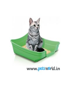 Imac Polly Cat Litter Tray - LxBxH : 33.75x25x10 cm (13.5x10x4 inch)