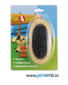All4Pets Handled Wooden Brush with Knobbed Pins