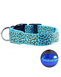 Petsworld LED Dog Collar Adjustable Leopard Printed Nylon Webbing Flashing Light Up Collar Blue