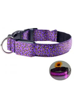 Petsworld LED Dog Collar Adjustable Leopard Printed Nylon Webbing Flashing Light Up Collar Purple