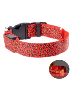 Petsworld LED Dog Collar Adjustable Leopard Printed Nylon Webbing Flashing Light Up Collar Red