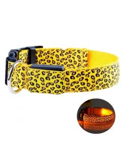 Petsworld LED Dog Collar Adjustable Leopard Printed Nylon Webbing Flashing Light Up Collar Yellow