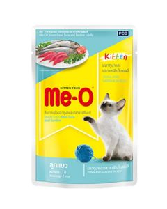 Me-O Pouch Cat Food Kitten Tuna and Sardine In Jelly 80gms
