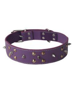 Petsworld Durable Adjustable Dog Collar with Metal Triangular Spike Studs Purple