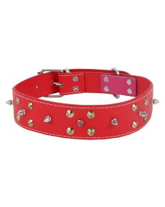 Petsworld Durable Adjustable Dog Collar with Metal Triangular Spike Studs Red