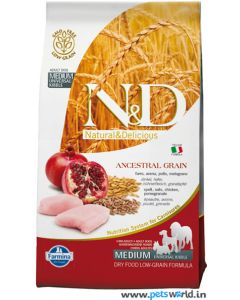 Farmina N&D Low Grain Chicken & Pomegranate Adult Dog Food 12 Kg ( Medium)