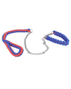 Petsworld High Quality Adjustable Nylon Collar with Leash for Heavy Dog (Red and Blue)
