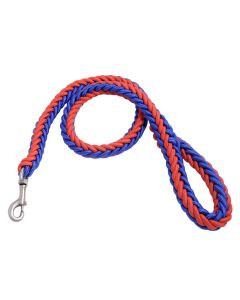 Petsworld Cord Nylon Dog Leash for Large Dogs with Extra Strong Brass Snap Hook, Red-Blue (Large)