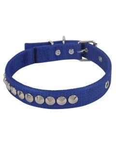 Petsworld High Quality Adjustable Nylon Silk Dog Collar 1 Inch with Silver Spike Studs (Blue)