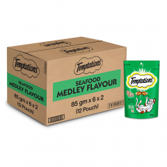 Temptations Cat Treat, Seafood Medley Flavour 85gm Pack of 12