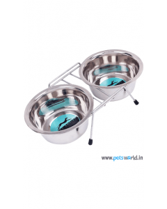 Pets Empire Double Dog Feeding Bowls Set Polished 2 x 900 ml