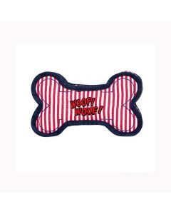 PET BRANDS Denim Striped Bone Toy Red