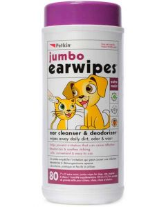 Petkin Jumbo Earwipes For Dog & Cat 80 Pieces