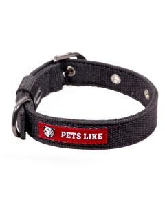 Pets Like Polyster Collar Black 25 mm Medium
