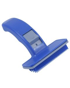 Petsworld Dog & Cat Plastic Slicker Brush with Press Key, Blue (Small)